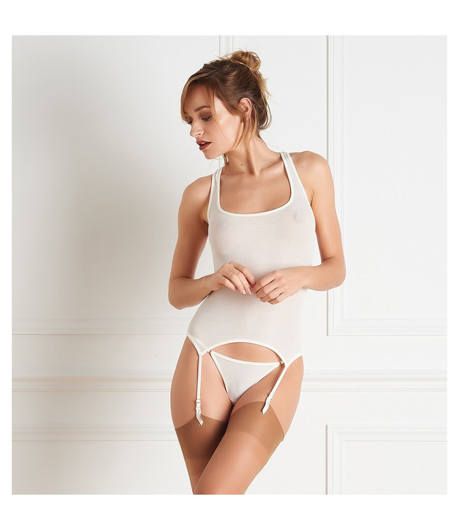 Maison Close Bellevue Ivory Chemise with Suspenders