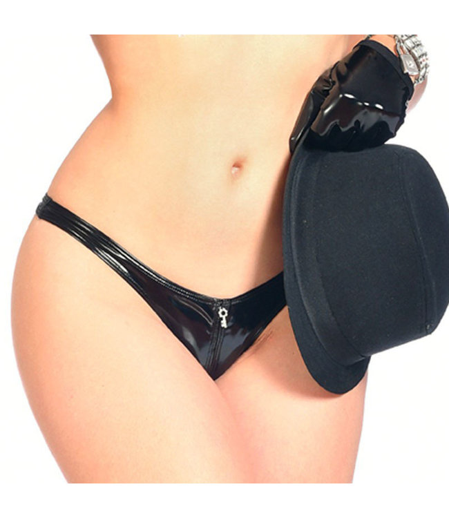 Annabelle Crotchless Vinyl Thong