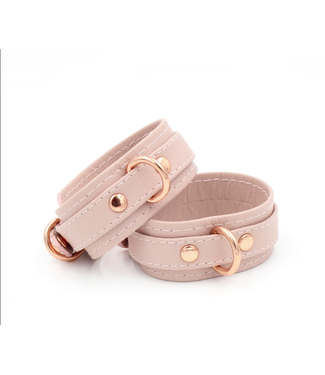 Rose Gold Luxury Leather Blush Pink Leather & Rose Gold Stitched Leather Deluxe BDSM Bondage Cuffs