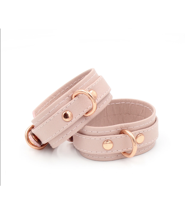 Blush Pink Leather & Rose Gold Stitched Leather Deluxe BDSM Bondage Cuffs