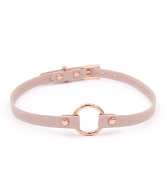 Rose Gold Luxury Leather Blush Pink Leather & Rose Gold Petite O Ring Collar