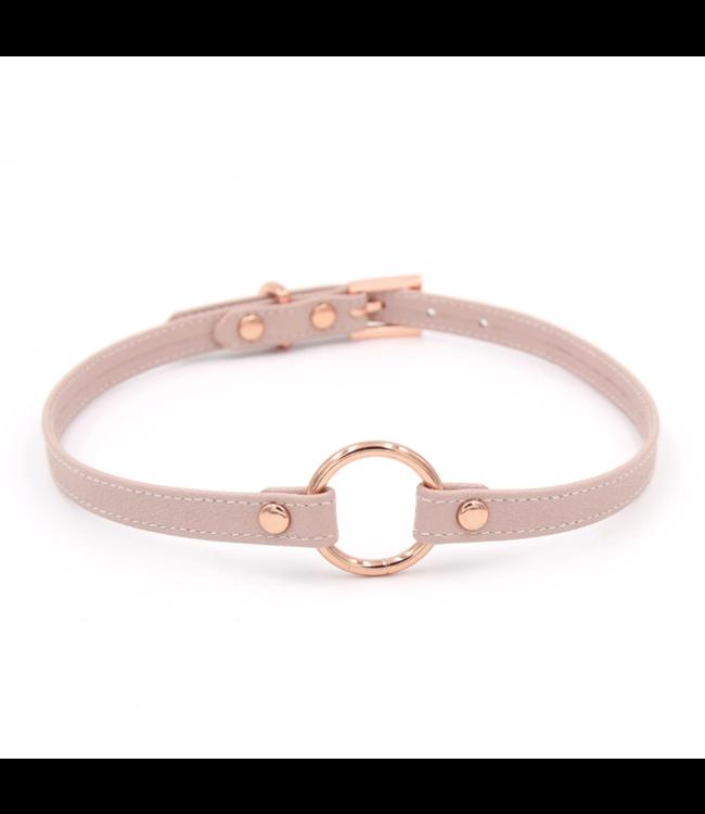 Blush Pink Leather & Rose Gold Petite O Ring Collar