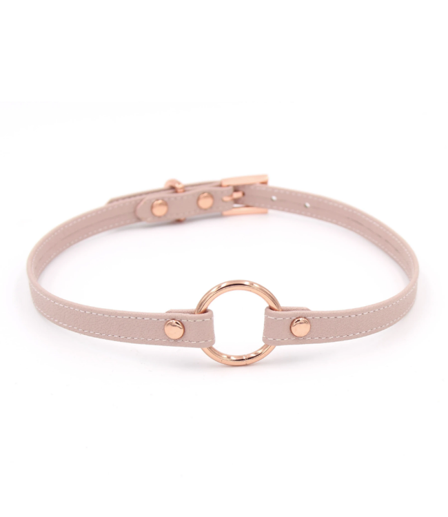 Rose Gold Luxury Leather Blush Pink Leather & Rose Gold O Ring Collar