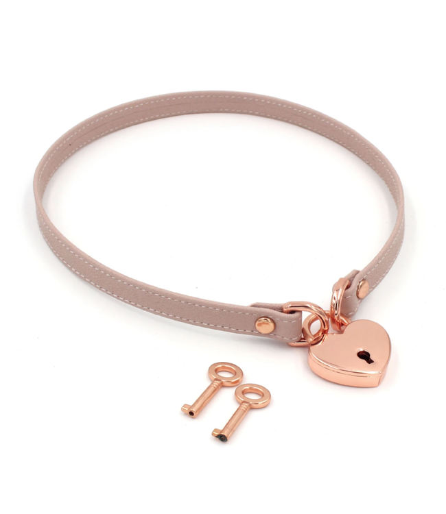 Blush Pink Leather & Rose Gold Locking Heart Collar