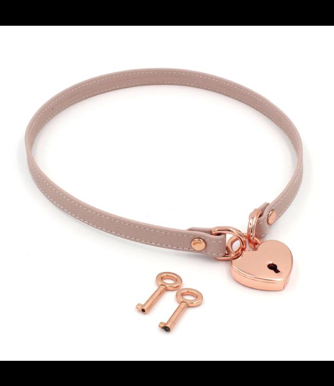 Blush Pink Leather & Rose Gold Locking Mini BDSM Collar