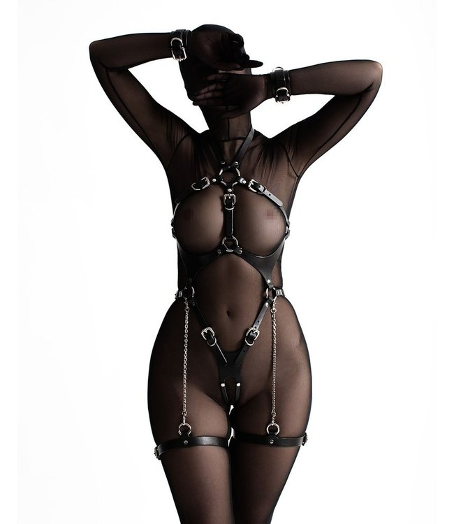Ora Leather Body Harness with Cuffs