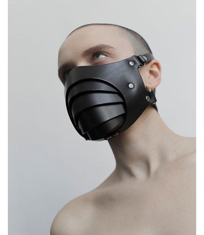 Segmented Black Leather Mask
