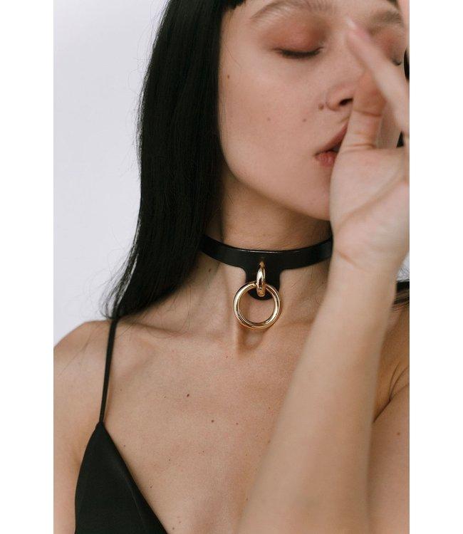 Dominus Embla Black & Gold Leather Collar