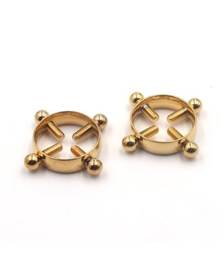 Rose Gold Luxury Leather Foursome Nipple Clamps in Gold