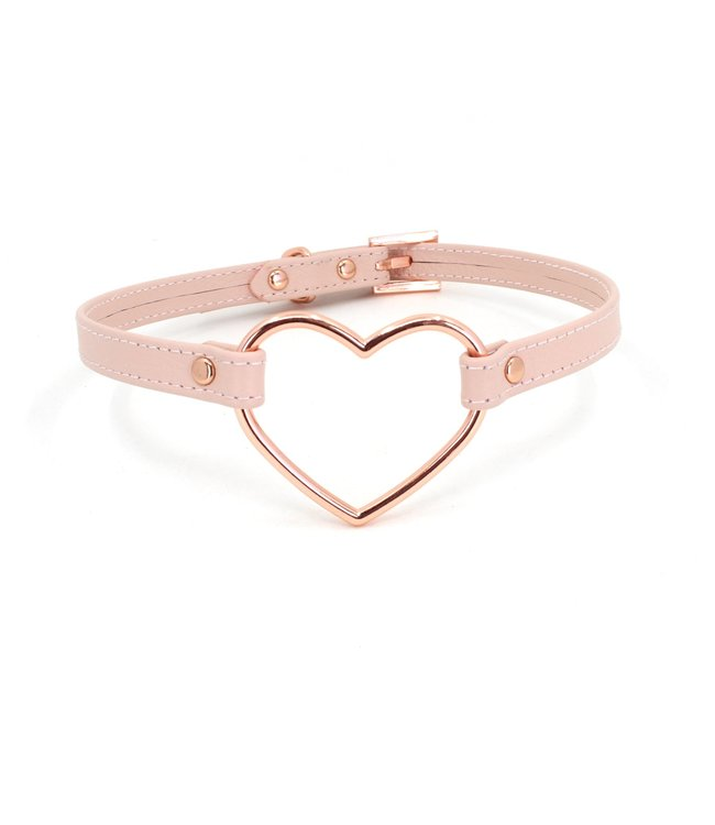 Rose Gold Luxury Leather Blush Pink and Rose Gold Leather Large Heart Mini Collar