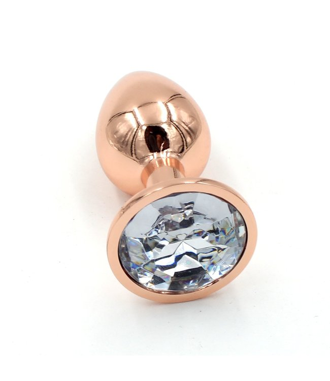 Rose Gold Luxury Leather Rose Gold Plug with Clear Gem - Small