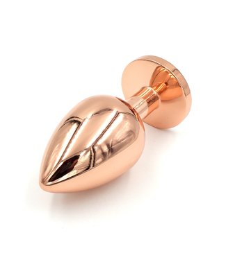 Rose Gold Luxury Leather Rose Gold Butt Plug - Medium