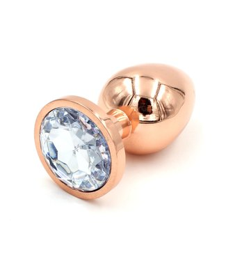 Rose Gold Luxury Leather Rose Gold Plug with Clear Gem- Large