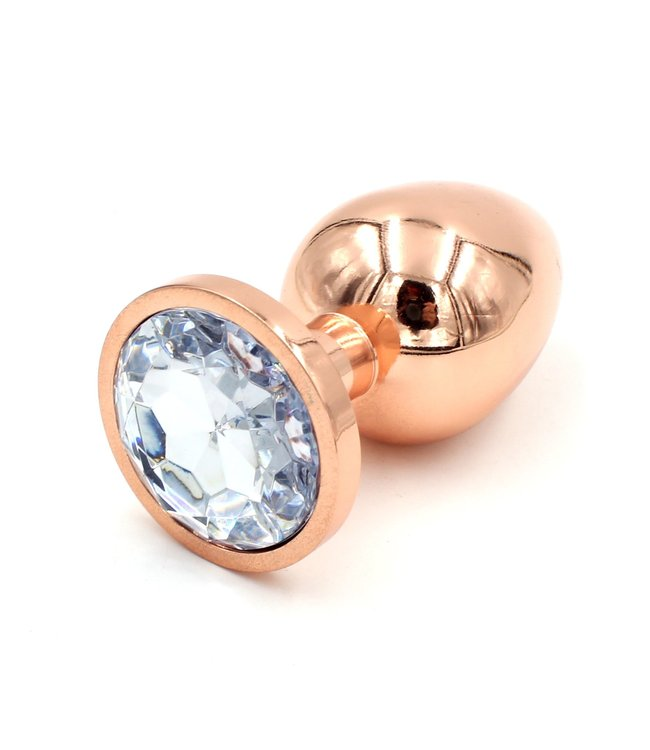 Rose Gold Plug with Clear Gem- Large