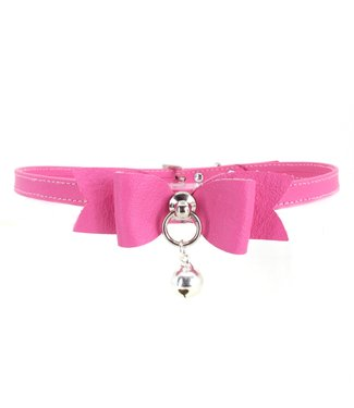 Rose Gold Luxury Leather Petite Hot Pink Leather Bow Tie and Bell Collar