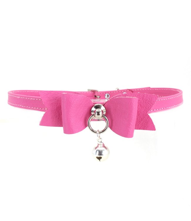 Petite Hot Pink Leather Bow Tie and Bell Collar