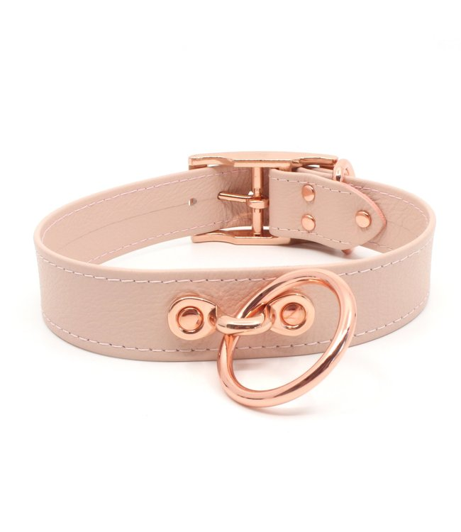 Rose Gold Luxury Leather Blush Pink Leather & Rose Gold Classic Collar