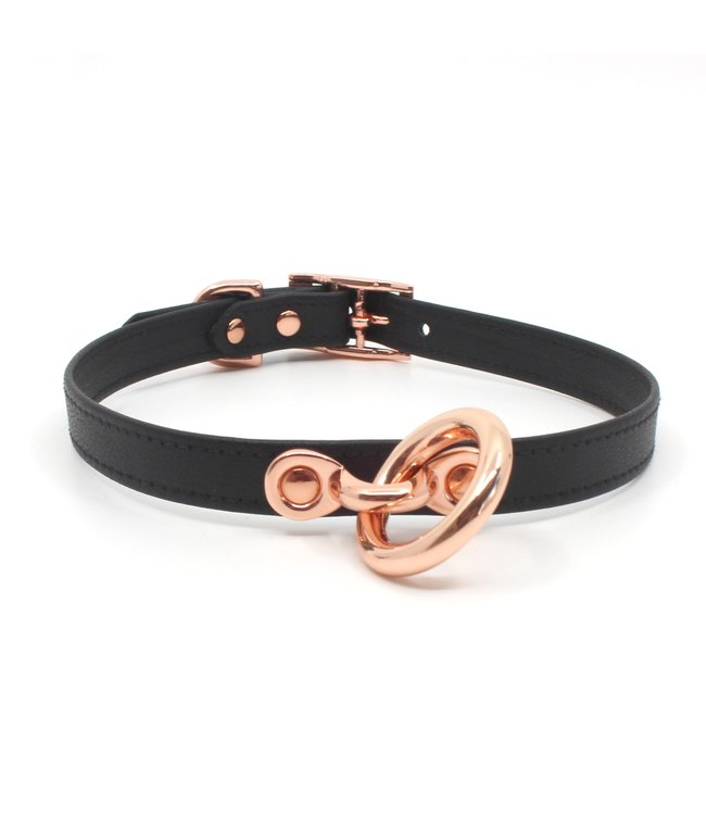 Rose Gold Luxury Leather Black Stitched Leather & Rose Gold Petite BDSM Collar