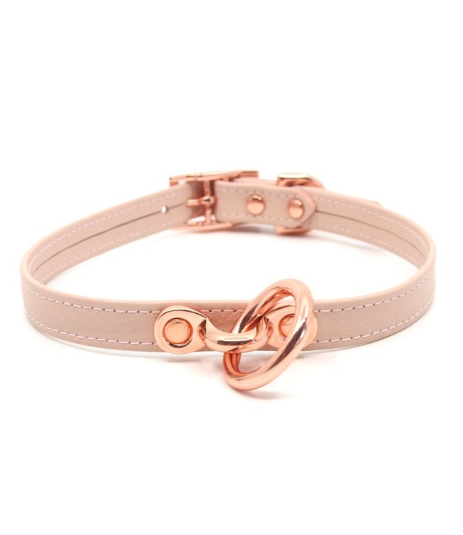 Rose Gold Luxury Leather Blush Pink Leather & Rose Gold Petite Collar