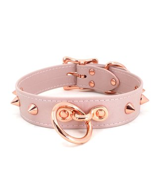 Rose Gold Luxury Leather Blush Pink and Rose Gold Spiked Collar