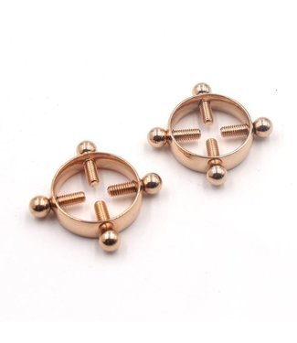 Rose Gold Luxury Leather Foursome Nipple Clamps in Rose Gold