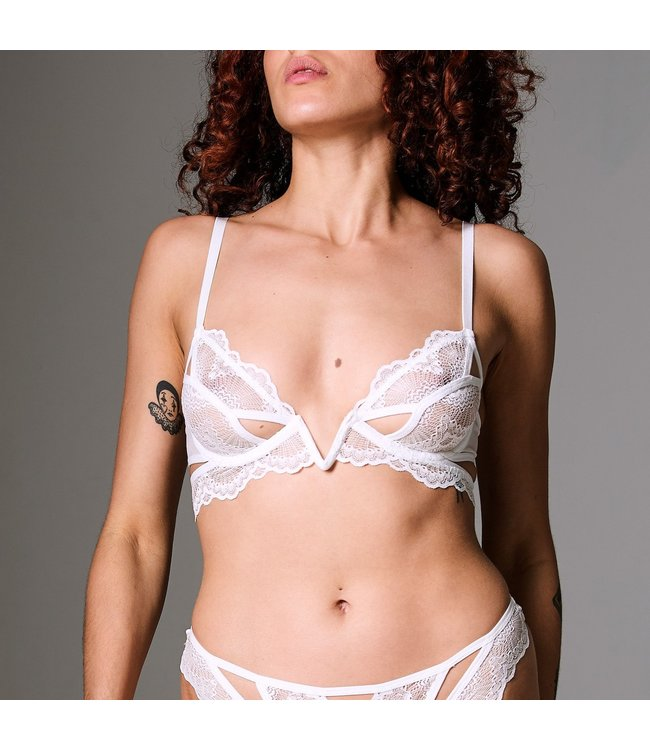 Kane Cutout V Wire Bra in Ivory
