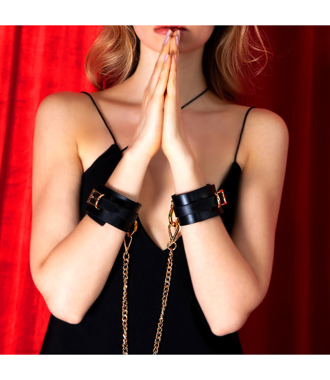 Lilith Leather Cuffs with Chain