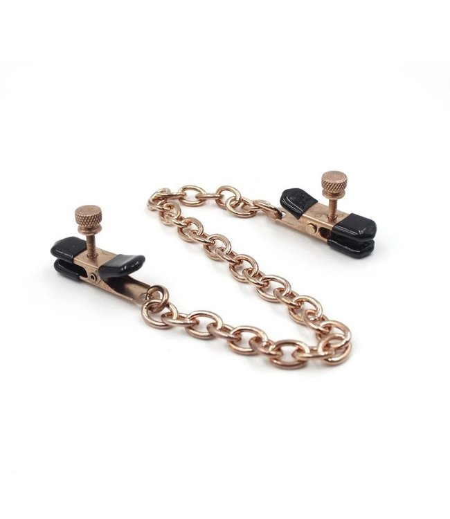 Rose Gold Luxury Leather Rose Gold Alligator Style Nipple Clamps