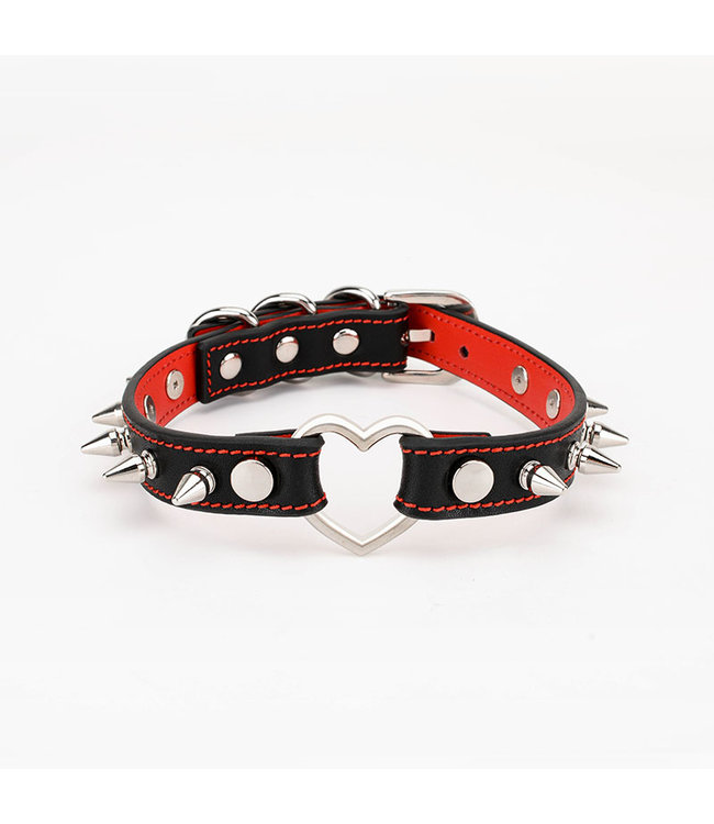 Leather Spiked Collar with Heart