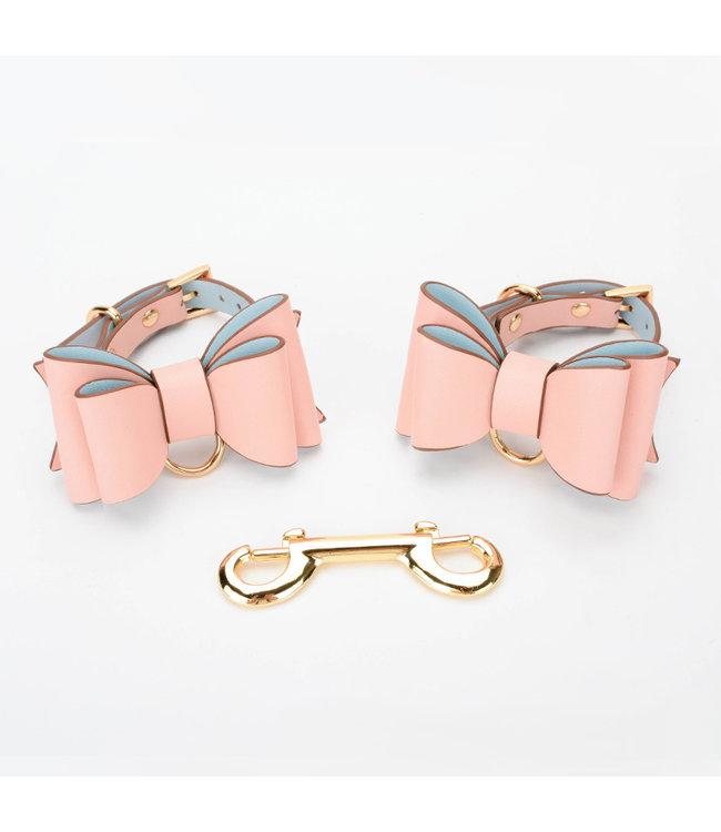 Jacksun Vegan Leather Bow Cuffs Pink
