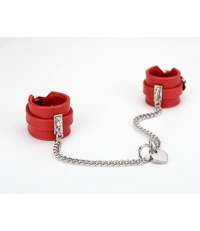 Wrist Cuffs with Locking Heart Chain Red