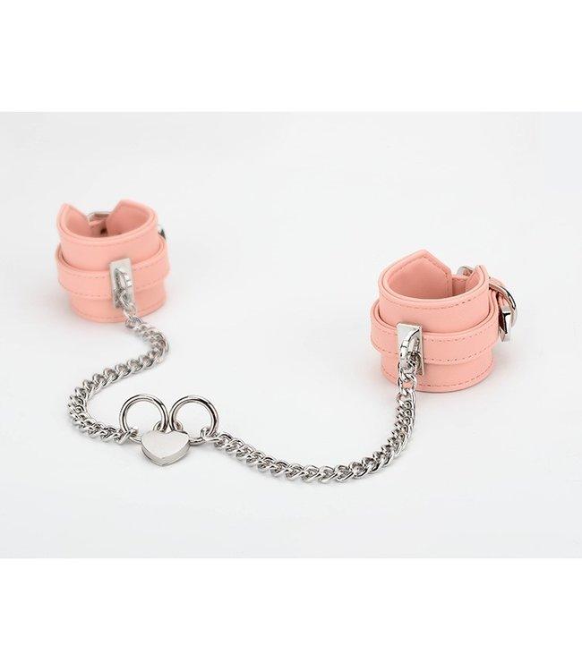 Wrist Cuffs with Locking Heart Chain Pink