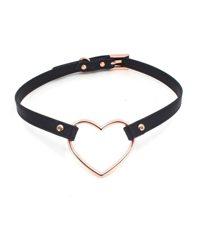 Black Leather & Rose Gold Heart Collar