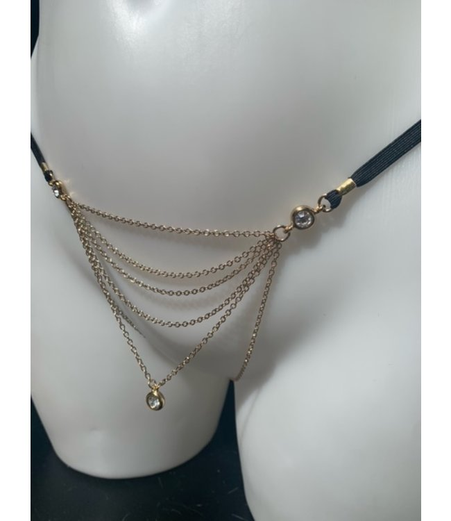 Gold Chain Crystal Thong