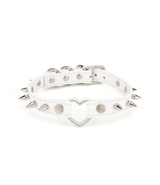 Jacksun Leather Spiked Collar with Heart White