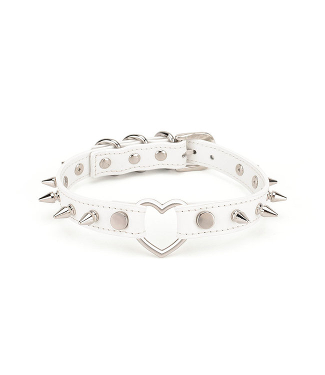 Leather Spiked Collar with Heart White
