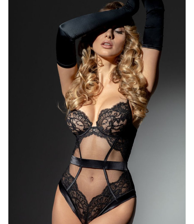 Jolidon Parisian Nights Lace Bodysuit Black