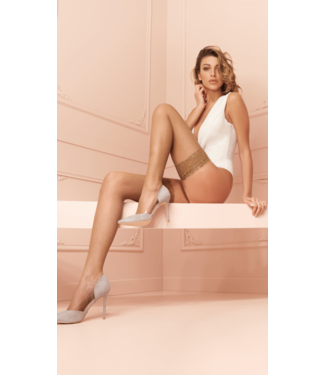 Trasparenze Ambra Fishnet Thigh High Stockings White