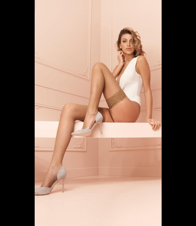 Ambra Fishnet Thigh High Stockings White