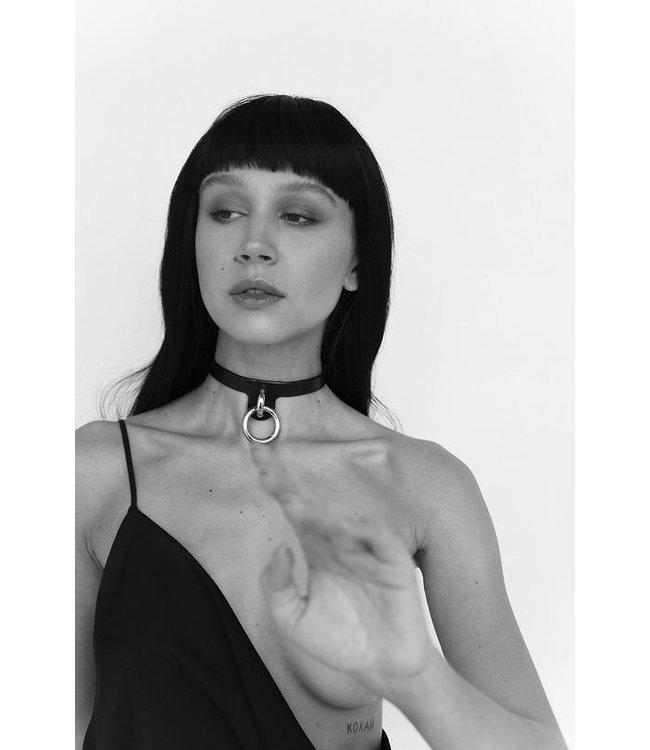 Embla Black & Silver Leather Collar