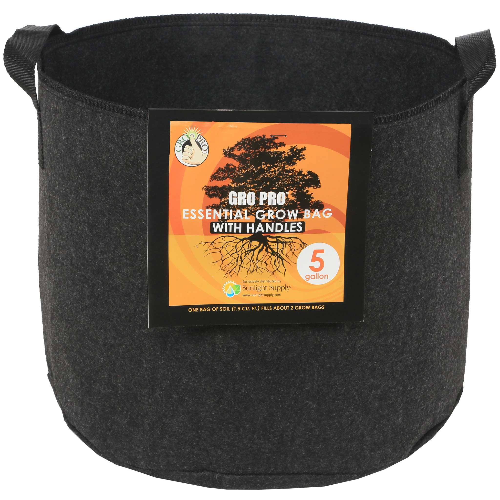 Essential Round Fabric Pot w/ Handles - Black