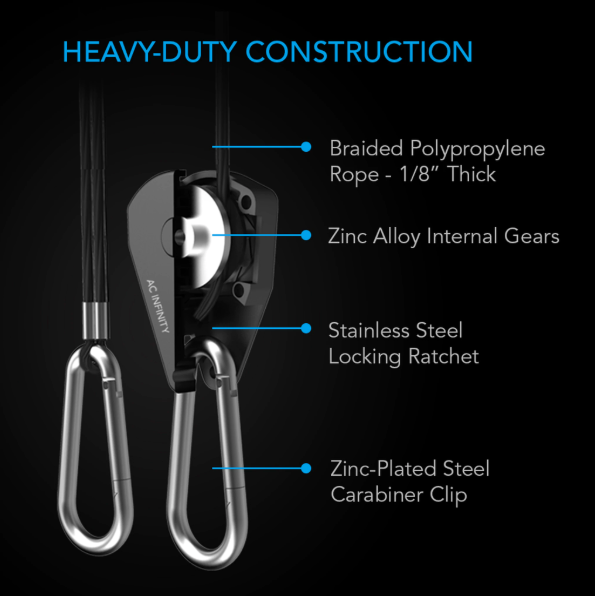 Heavy Duty Adjustable Rope Clip Hanger, 1 Pair