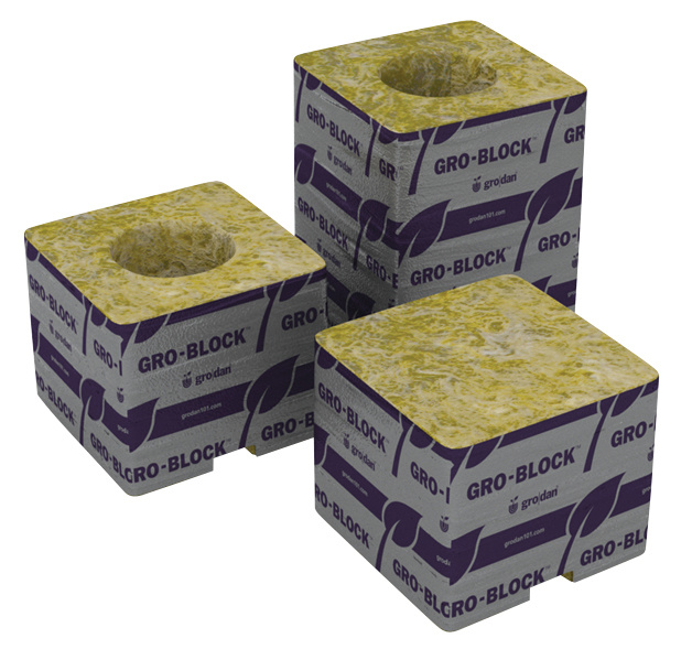 "Stonewool Delta 4 Gro-Block™ - 3"" x 3"" x 2.5"" w/ Hole"