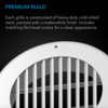 """Wall-Mount Duct Grille Vent, White Steel, 4"""""""