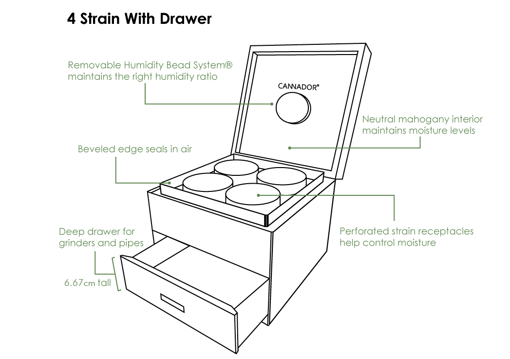 4-Strain Storage Box (with drawer)  - Cherry