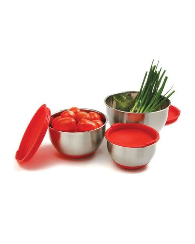 Norpro Mixing Bowl Set with Non-Skid Base + Lids