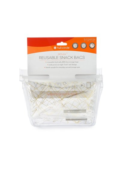 Snack Bag ZipTuck Gold Geo S/2