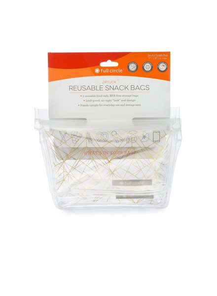 Full Circle Snack Bag ZipTuck Gold Geo S/2