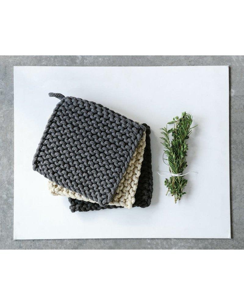 creative co-op Crocheted Pot Holder Dusk ASTD