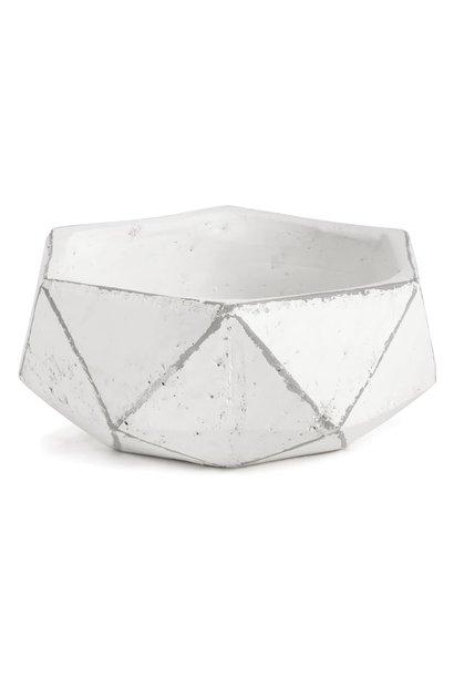 Geometric Planter White Dish